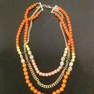 Beautiful coral and yellow choker necklace